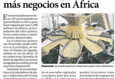ADEX: Manufactura peruana tiene oportunidades por USS 1,508 millones